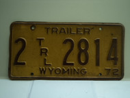 1972 Wyoming Trailer License Plate 2 TLR 2814