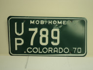 1970 COLORADO Mobile Home License Plate UP 789