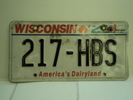 WISCONSIN America's Dairyland License Plate 217 HBS