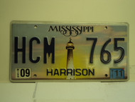 2011 MISSISSIPPI Lighthouse License Plate HCM 765