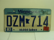 2001 MINNESOTA Explore 10,000 Lakes License Plate DZM 714