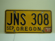 1992 OREGON License Plate JNS 308