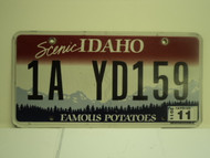 2011 IDAHO Scenic Famous Potatoes License Plate 1A YD159