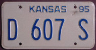 1995 Kansas D 607 S DEALER License Plate