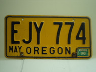 1986 OREGON License Plate EJY 774