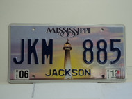 2012 MISSISSIPPI Lighthouse License Plate JKM 885