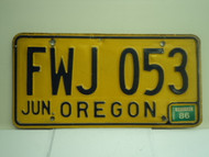 1986 OREGON License Plate FWJ 053