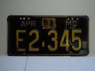 1961 Missouri License Plate E2 345 DMV CLEAR