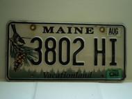 2002 MAINE Vacationland License Plate 3802 HI