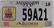 2007 Dec Mississippi Alcorn State License Plate