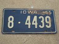 1965 IOWA License Plate 8 4439