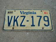 1981 VIRGINIA License Plate VKZ 179