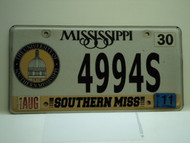 2011 MISSISSIPPI Southern Miss University License Plate 4994S