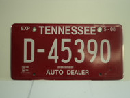2007 TENNESSEE Auto Dealer License Plate 45390 D