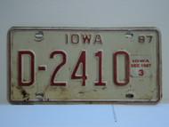 1987 IOWA DEALER License Plate D 2410 December