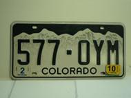 2010 COLORADO License Plate 577 OYM