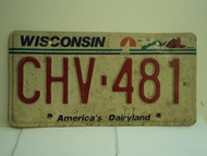 WISCONSIN America's Dairyland License Plate CHV 481