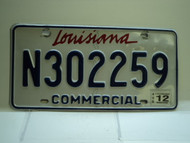 2012 LOUISIANA Commercial License License Plate N302259