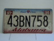1998 ALABAMA Heart of Dixie License Plate 43BN758