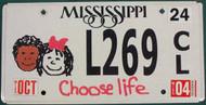 2004 Oct Mississippi Choose Life License Plate