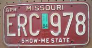 1984 Apr Missouri ERC-978 License Plate DMV Clear YOM
