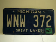 2004 MICHIGAN Great Lakes License Plate WNW 372