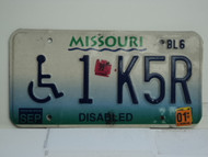 1999 2001 MISSOURI Truck Blue Fade Handicapped License Plate 1 K5R