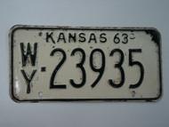 1963 KANSAS License Plate WY 23935
