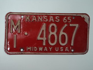 1965 KANSAS Midway USA License Plate MI 4867