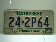 1988 TENNESSEE Volunteer State License Plate 24 2P64