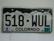 2012 COLORADO License Plate 518 WUL