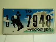 WYOMING Bucking Bronco Devils Tower Truck License Plate 18 7948