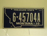 2010 MONTANA Treasure State License Plate 6 45704A