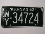 1962 KANSAS License Plate WY 34724
