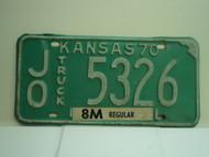 1970 KANSAS Truck 8M regular License Plate JO 5326