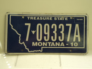 2010 MONTANA Treasure State License Plate 7 09337A
