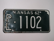 1962 KANSAS License Plate PL 1102