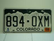 2009 COLORADO License Plate 894 OXM