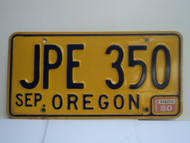 1980 OREGON License Plate JPE 350