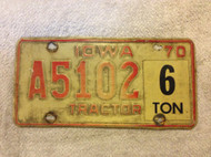 1970 Iowa A5102 Tractor 6 ton License Plate