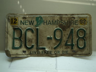 1992 NEW HAMPSHIRE Live Free or Die License Plate BCL 948