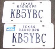 PAIR Texas Radio Operator License Plate KB5YBC