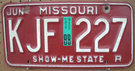 1988 Jun Missouri KJF-227 License Plate DMV Clear YOM