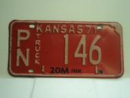 1971 KANSAS Farm Truck 20M License Plate