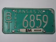 1970 KANSAS 8M Truck License Plate BT 6859