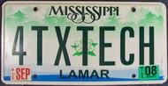 2008 Sep Mississippi Vanity 4TXTECH License Plate