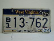 2011 WEST VIRGINIA Wild Wonderful License Plate B1 13 762