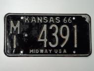 1966 KANSAS Midway USA License Plate MI 4391
