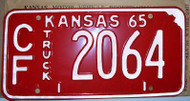 1965 Coffey Co Kansas Truck CF 2064 License Plate