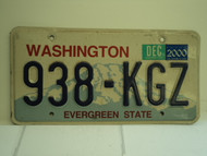 2000 WASHINGTON Evergreen State License Plate 938 KGZ